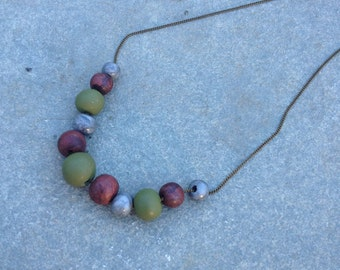 Trendy Beaded Clay Necklace