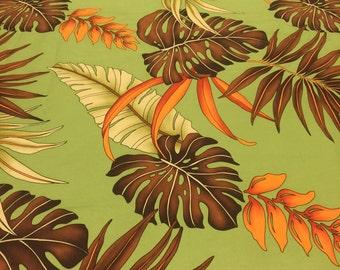 Tropical Fabric. Green Hawaiian Fabric. 1/2 yd. Palm Tree Fabric. Hawaiian Fabric. Trendtex Fabric. Orange Fabric.