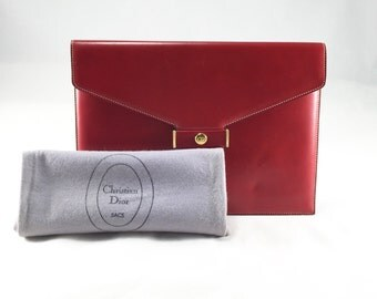 Vintage Christian Dior Red Leather Clutch