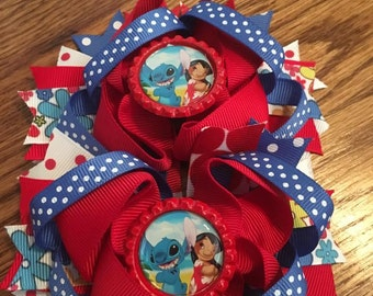 Lilo and Stitch hairbow, Hairbow for girls, Lilo bow, Stitch bow, Girls Hairbow, Little Girls, Girl hairbow, Alligator Bow, Character Bow