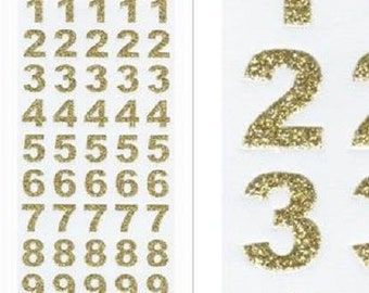 15mm Tall Gold Glitter Bold Numbers Craft Stickers for Card Making, Embellishments, Scrap Booking, Gift Tags, Craft Projects