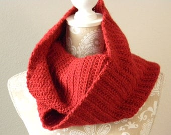 Red Infinity Scarf Crocheted