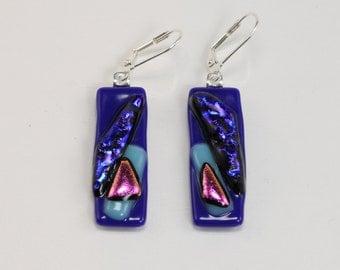 Fused Glass Earrings, Glass Earrings, Blue and Pink Rectangle Earrings