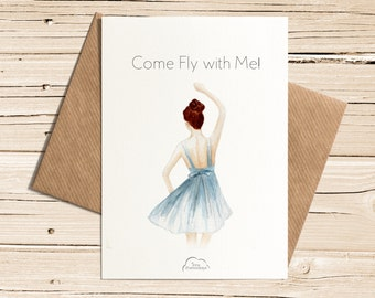 Printed Watercolor cards, Come fly with me, The girl in a beautiful dress, Dancing girl, Card