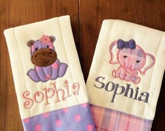 Elephant & Hippo Burp cloth