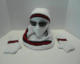 University of Utah, crochet Set, Hat, Infinity Scarf, Fingerless Gloves, gift, sportsfan, sports mom, football