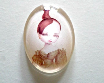 "Cabochon ""Girls sad"" - young girl in the bun - glass, 30 * 40 mm"