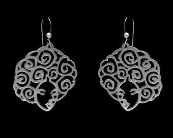 Sterling Silver Filigree Afro Earrings