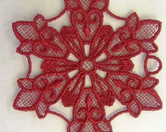 Lace Snowflake Christmas Ornament Red Holiday decoration