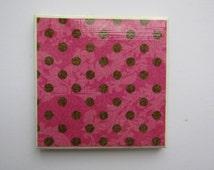 Polka Dot Cermaic Coaster, Pink and Brown Coaster, Handmade, Single, Drink and Barware, Drinks Coasters