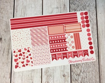Valentine's Day Themed Planner Stickers- Made to fit Horizontal Layout