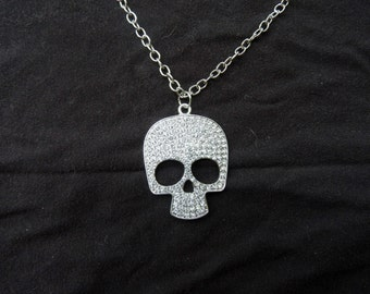 Large Sequin Skull Necklace