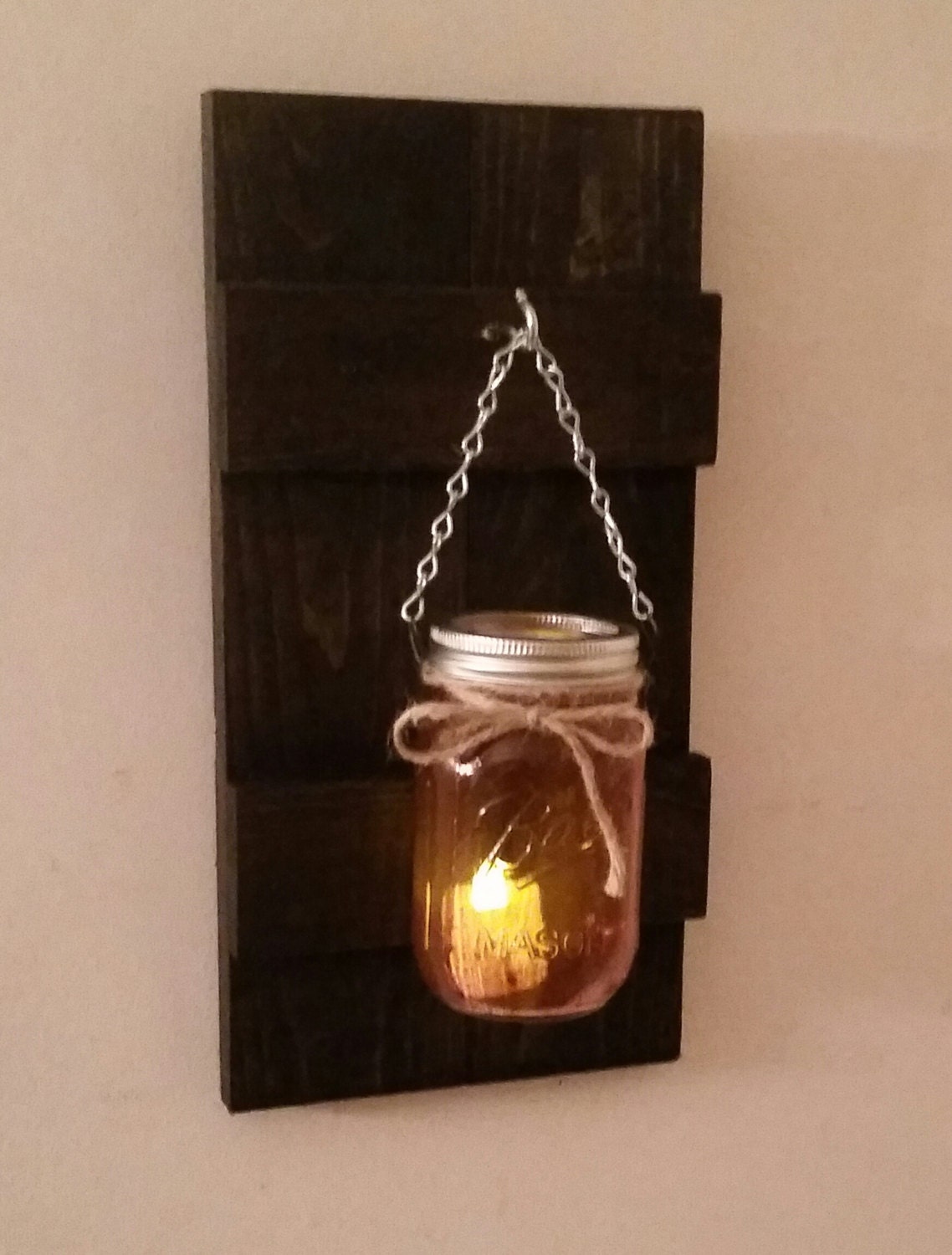 Rustic Wall Sconce With Ball Mason Jar and Battery Operated Candle Holder Candles - Zeppy.io