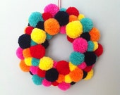 Pom Pom wreath - Multicoloured pom pom wreath - Pom pom wall hanging.