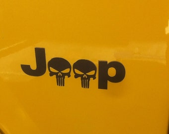 "Jeep, Punisher Skull decal two 5"" x 2"" Black Matte"