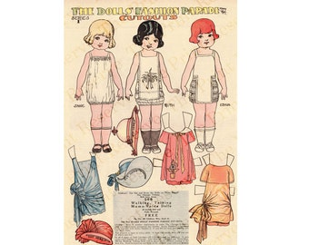 Printable Paper Dolls Angel Family Penny Ross Fashion Parade Series 1 Instant Digital Download 1920s Newspaper Reproduction