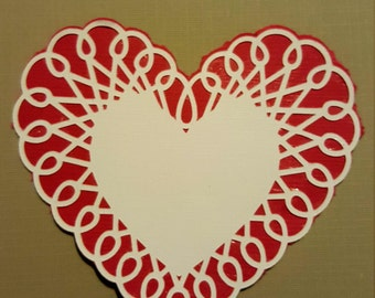 Scalloped Heart Die Cut Valentine Cardstock
