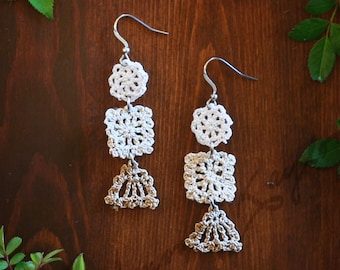 Patchwork Crocheted Dangle Earrings in White, Natural and Tan