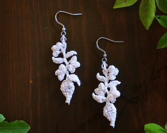 Flowering Vine Crocheted Drop Earrings with Swarovski Accent