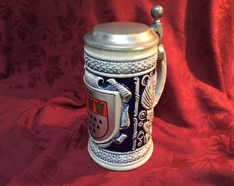 Beer Stein, Tankard, Mug, Koln Germany, Pewter Top