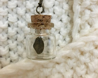 SALE - Minimalist Bronze Leaf Jar Necklace