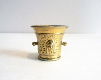 Vintage Miniature Brass Plated Champagne Cooler  or Mortar and  Pestle - Made in England Miniature - Dollhouse Accessories