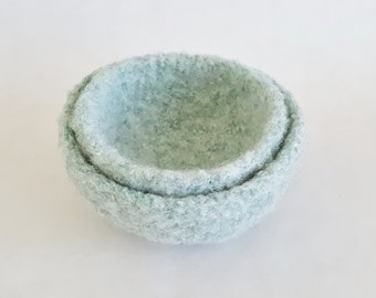 Set of 2 Nested Felted Bowls - Mint Medium and Small