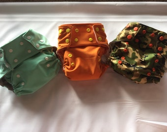 3 Pack All in One Cloth diapers, Baby Shower gift set, All in one cloth diaper
