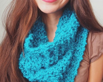 Sparkly Blue Knit Infinity Scarf