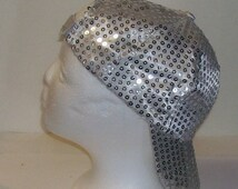 Grey Silver Sequined Rave Disco Baseball Style Hat Cap Adj Sz 4 Cosplays, Dance Clubs, Raves, Theater, Parties, PokemonGo Teams, Etc.
