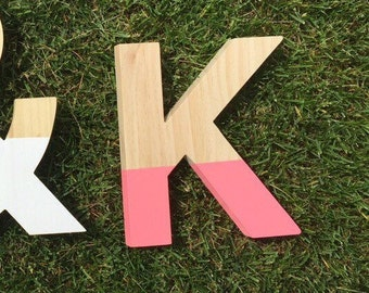 Wood letter, painted monogram, painted letter, wood letter, painted wood