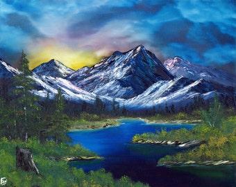 "Oil Painting Landscape - Fiery Sunset - 16""x20"""