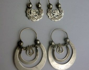 Antique Ethnic Mayan Guatemalan Silver Crescent Moon Hoop Earrings: 2 pairs