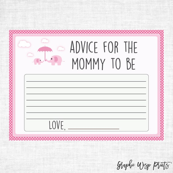 elephant baby shower advice for mommy to be by graphicwispprints. Black Bedroom Furniture Sets. Home Design Ideas