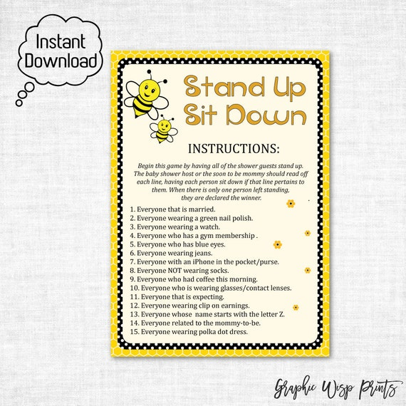 Stand Up Sit Down Baby Shower Printable Game By