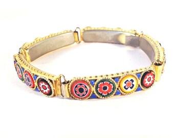 Vintage Italian Micro Mosaic Millefiori Bracelet 1950s