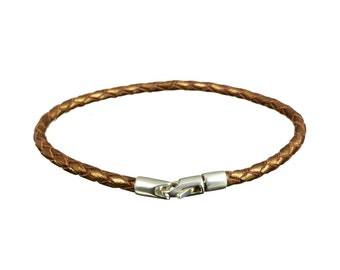Braided Leather Bracelet with a Sterling Silver Clasp, brown leather bracelet