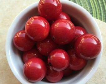Deep Red Natural Bamboo Coral Beads