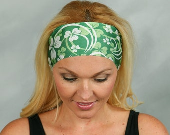 Yoga Headband St Patricks Day Headband Shamrock Headband Wide Fitness Headband Green No Slip Headband Running Headband Turban Headwrap