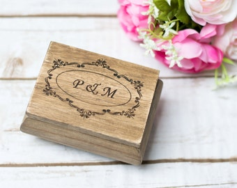 Wedding Ring Holder Moss Ring Pillow Wooden Rustic Ring Box Custom Ring Box Wedding Rings Box Bearer Country wedding