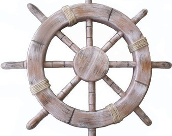 "18"" Rustic Seaworn Decorative Ship Wheel 8 Spokes Antique Nautical Beach Coastal Maritime Decor 18 Inch FREE SHIPPING"