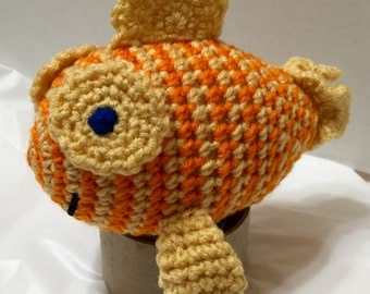 Crocheted Fish Orange Stripe #1, Amigurumi Fish, Amigurumi Goldfish, Fish Toy, Nursery Decor