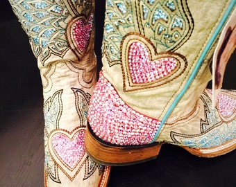 Corral heart boots with Swarovski Crystals