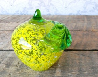 Apple Paperweight - Vintage Glass Fruit