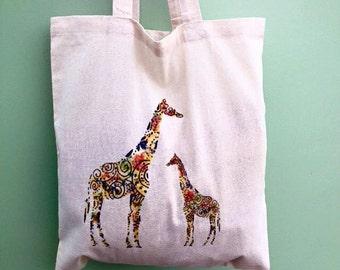 Giraffe Tote Bag, Printed Giraffe Tote Bag, Giraffe shoppers bag, safari bag design, Giraffe bag, Mother and baby giraffe bag, everyday bag.