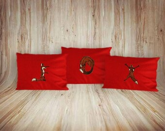 Decorative pillows 3 items with hand painted foxes home interior decor