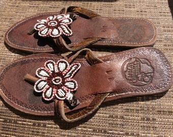 Afrocentric Summer Handmade Leather Beaded Summer Sandals