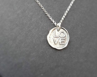WAX SEAL NECKLACE - Wax seal stamp - Sterling Silver - Handcrafted - Valentines