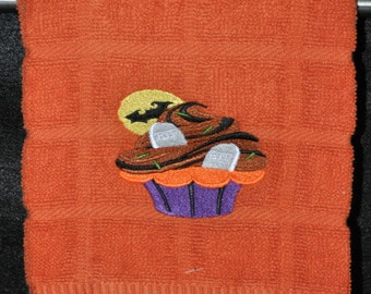 "Embroidered Dish Towel ""Tombstone Cupcake"""