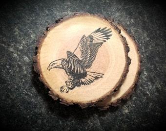 Rustic Natural Wood Bald Eagle Coaster Set of 2